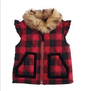 NWT Buffalo Plaid vest w/ faux fur - 2T/3T